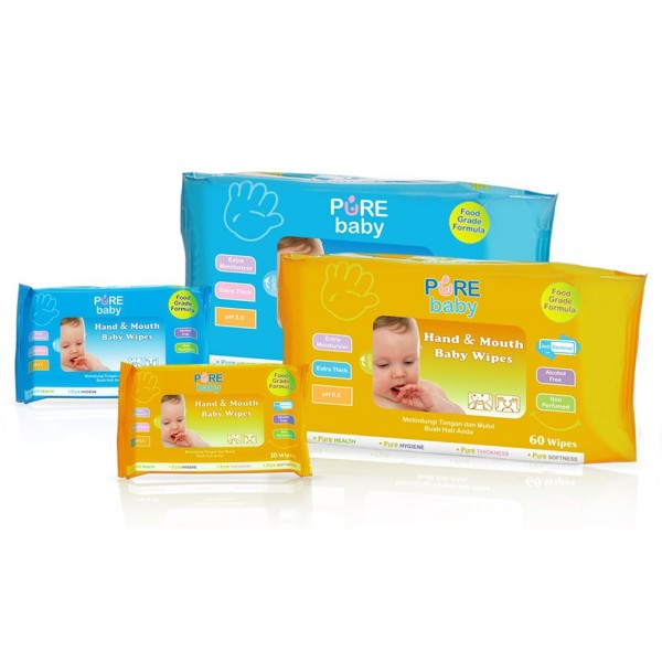 Pure BB Baby Hand and Mouth Baby Wipes /60