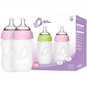Putti Atti Silicone Baby Bottle Twin Pink 260ml