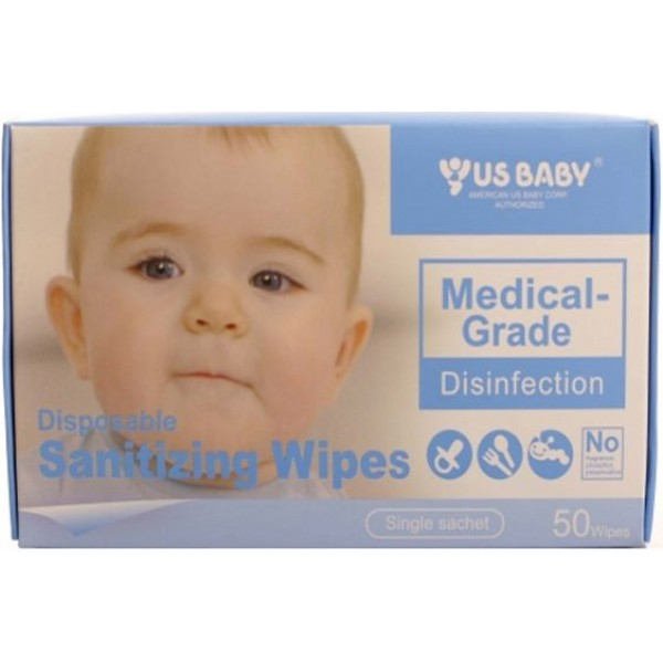 US Baby Disposable Sanitizing Wipes /50